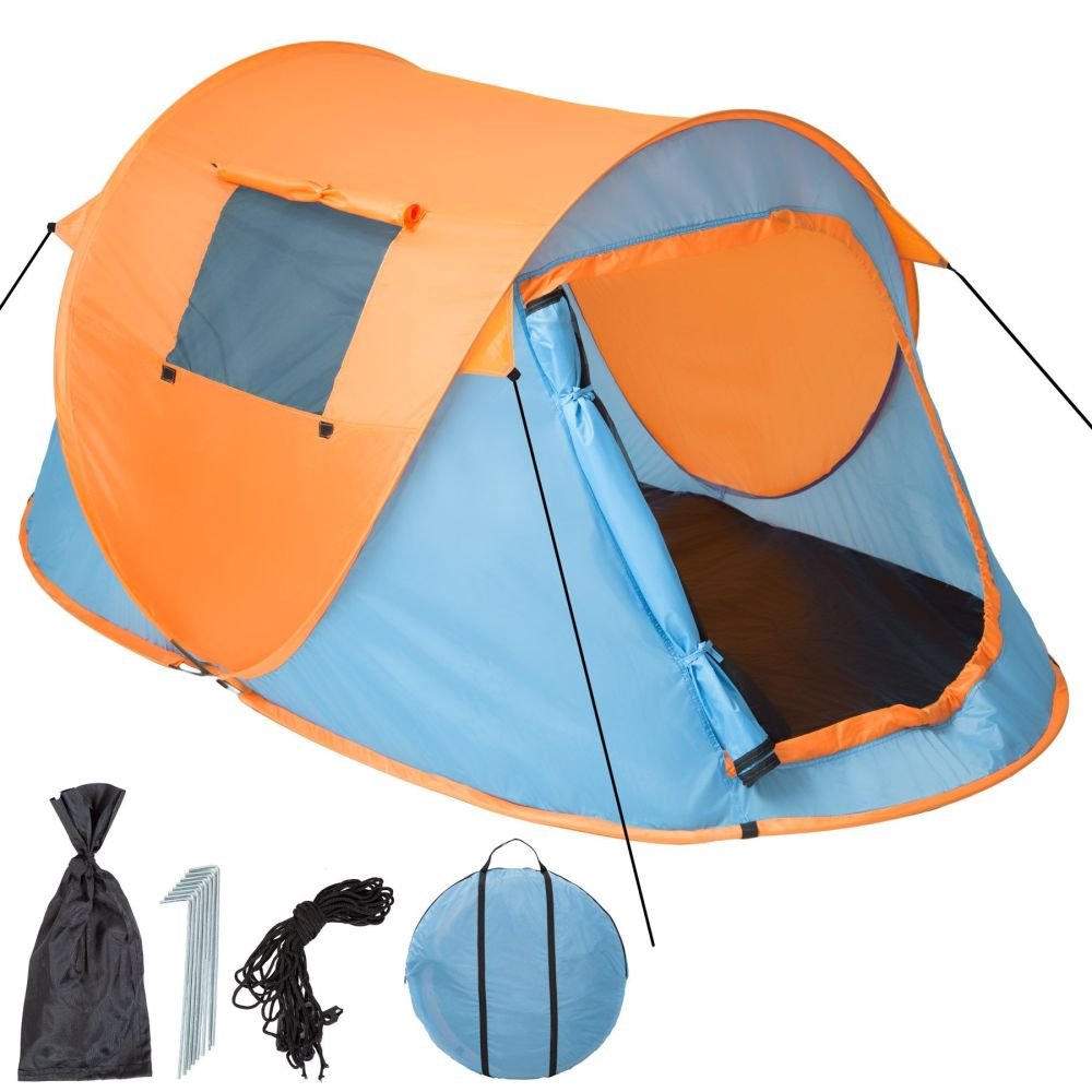 Pop-up tent waterdicht blauw / oranje