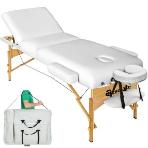 3-zones massagetafel 10 cm matras + tas wit