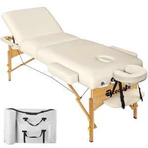 3-zones massagetafel 10 cm matras + tas beige