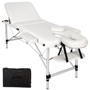 3-zones massagetafel Alu 5 cm matras + tas wit