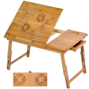 Houten laptoptafel laptop table voor op bed 55x35x26 cm + USB ventilator